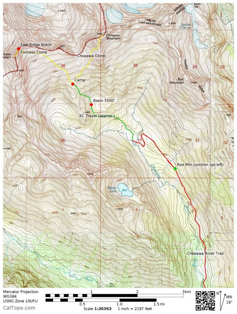 MAP 2: Shows the upper cross-country travel, camps, and climbing routes only