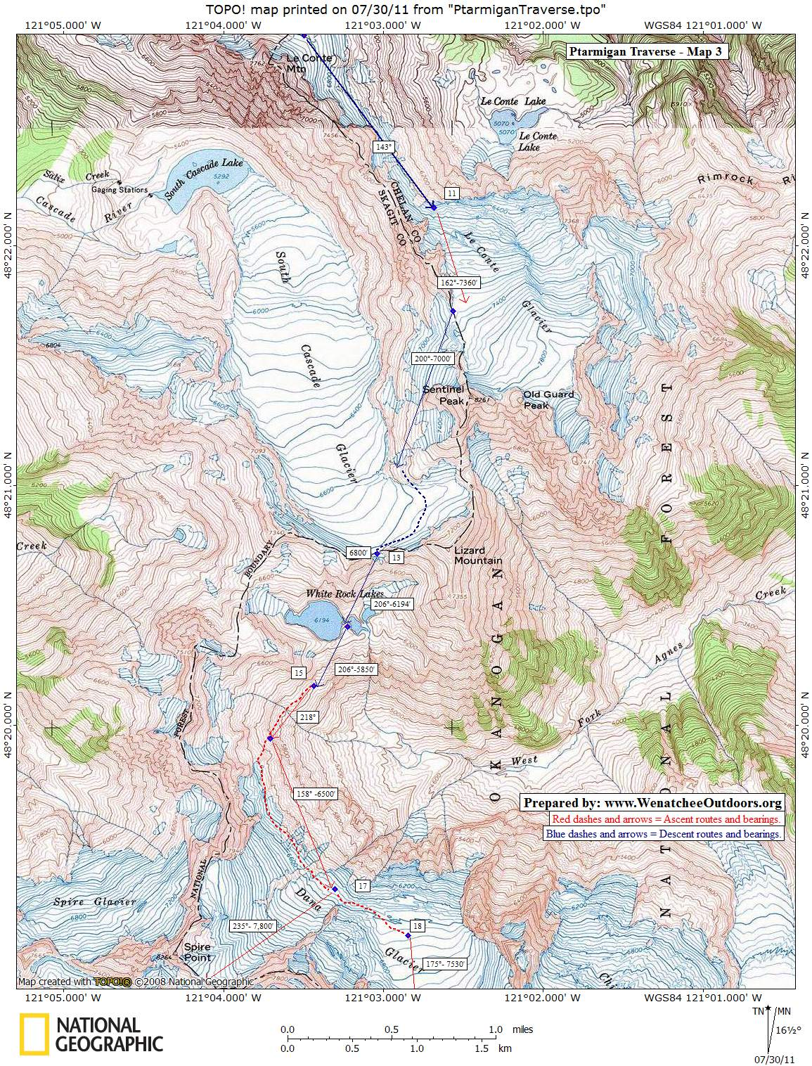 MAP 3: Le Conte Mtn to Spire Point