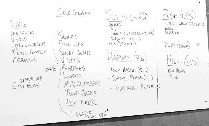The grueling workout that Adam set up for us.