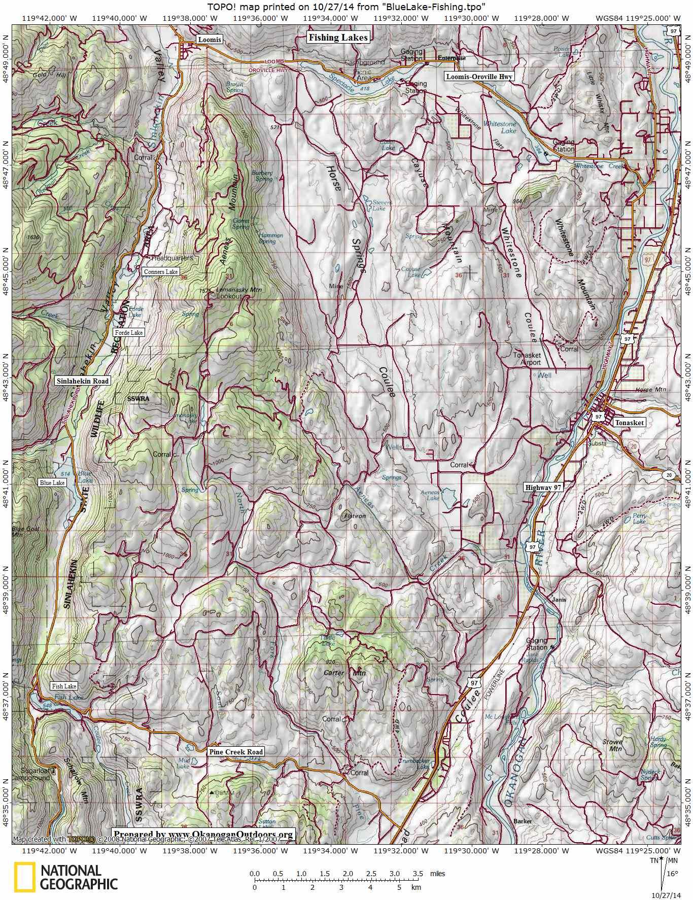 Tonasket Fire Map.Blue Lake Sinlahekin Wenatchee Outdoors